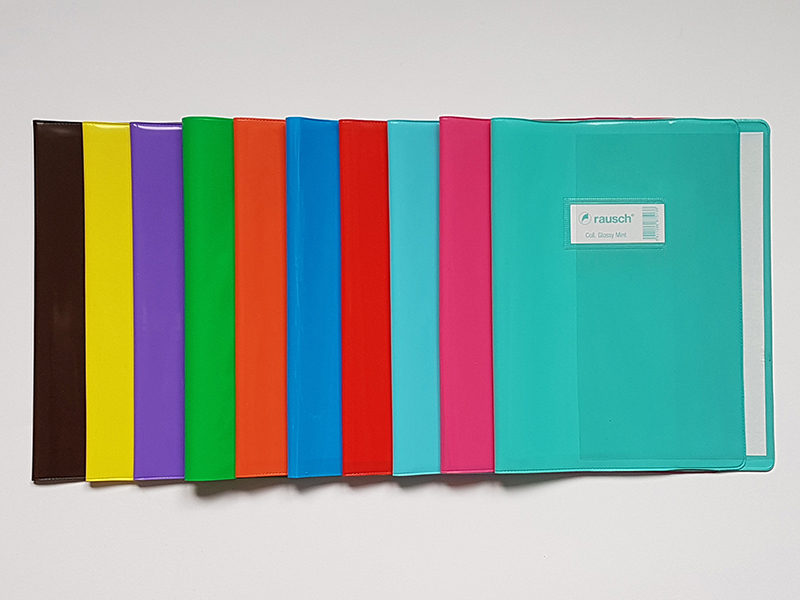 COUVRE-CAHIER+ETIQ+RAB. A4 GLOSSY AZURE
